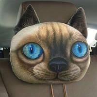 Декоративная подушка-подголовник кот с голубыми глазами, мягкая 3D подушка в машину, автомобиль, кресло