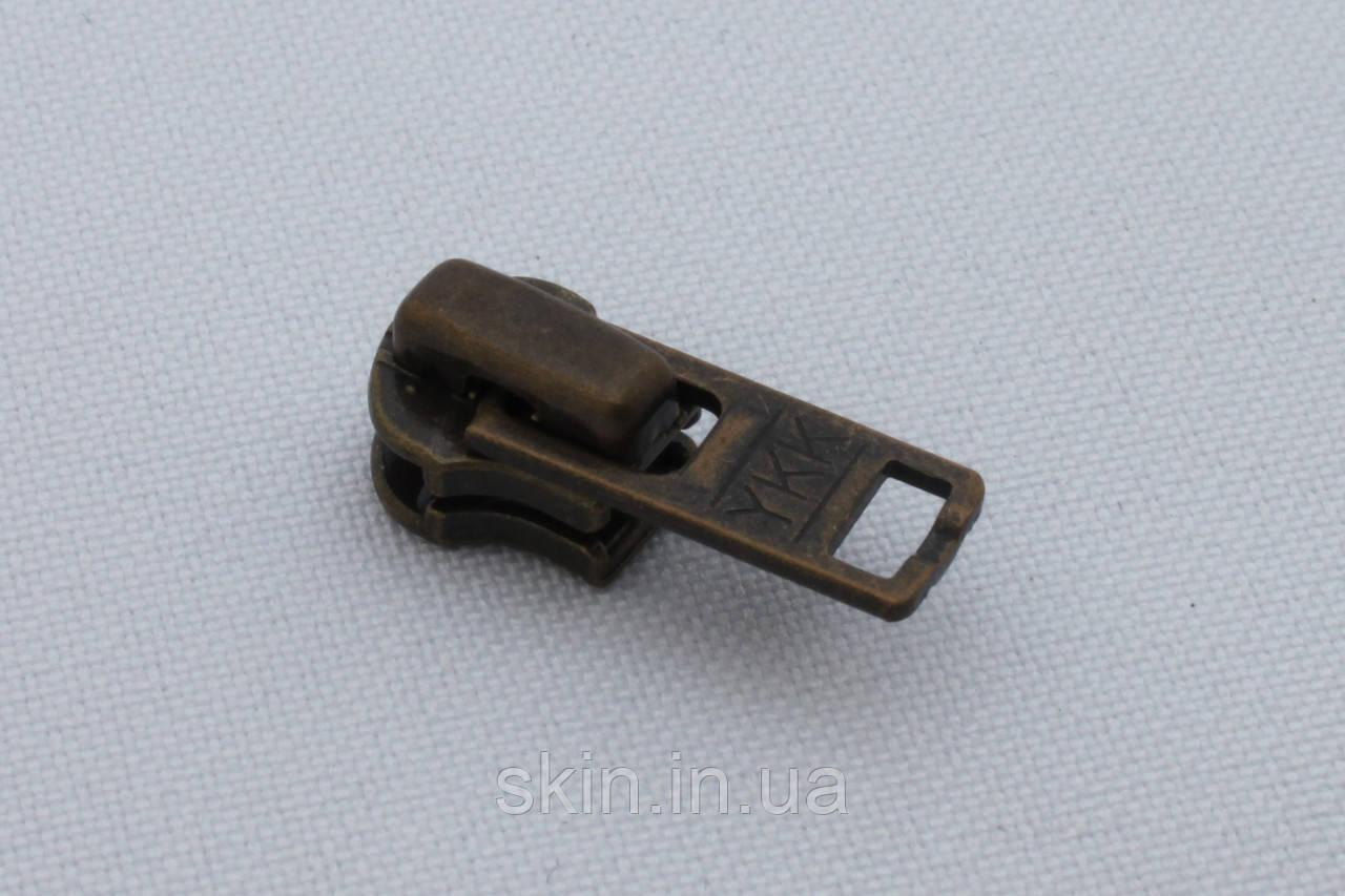 Бігунок(собачка) для металева блискавки УКК № 3, колір - антик, артикул СК 5325