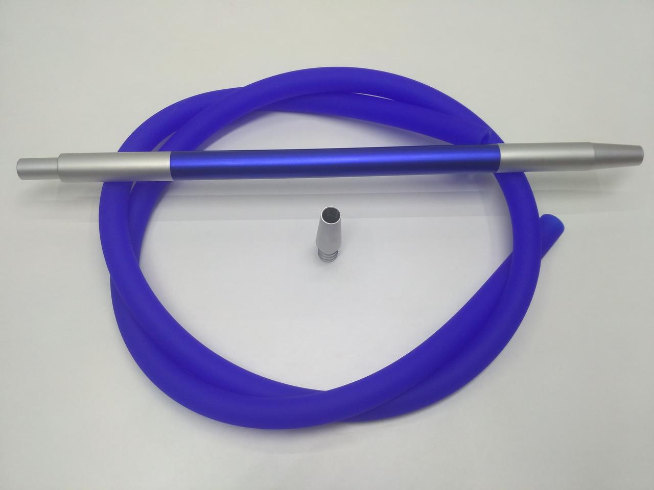 Шланг силиконовый Soft touch (Софт Тач ) с алюминиевыми мундштуками - цвет: Синий