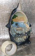Фонтан с подсветкой и шариком Дельфин декоративный комнатный настольный садовый домашний