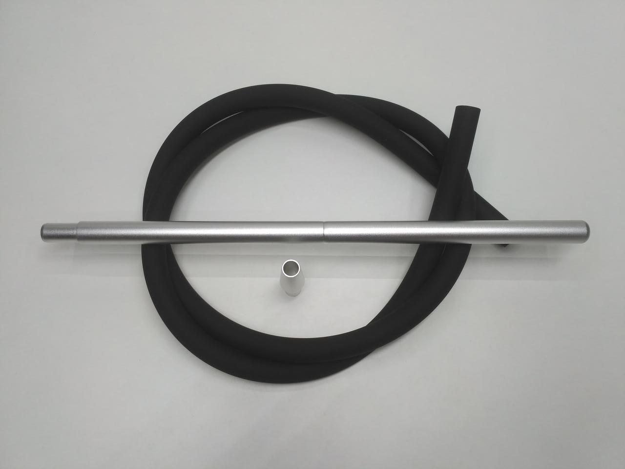 Шланг силиконовый Soft touch (Софт Тач ) с алюминиевыми мундштуками - цвет: Алюминий