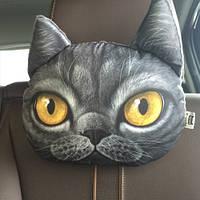 Декоративная подушка-подголовник серый кот с желтыми глазами, мягкая 3D подушка в машину, автомобиль, кресло