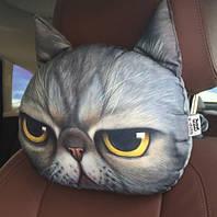 Подушка-подголовник гордый серый кот с желтыми глазами, мягкая 3D подушка в машину, автомобиль, кресло