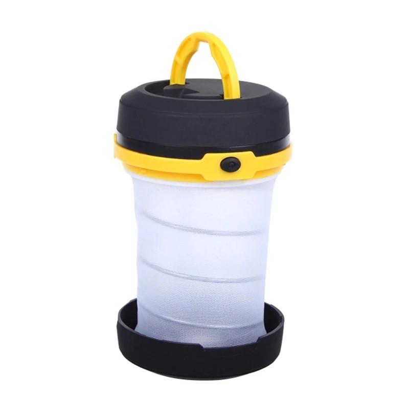 Складний ліхтар SUNROZ Pop-Up Lantern для подорожей та туризму Чорно-Жовтий (SUN4342)