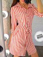 Женское платье-туника в полоску в расцветках. ВЕ-14-0519