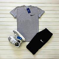 Шорты + футболка + Подарок в стиле Nike Grey / мужской летний спортивный костюм