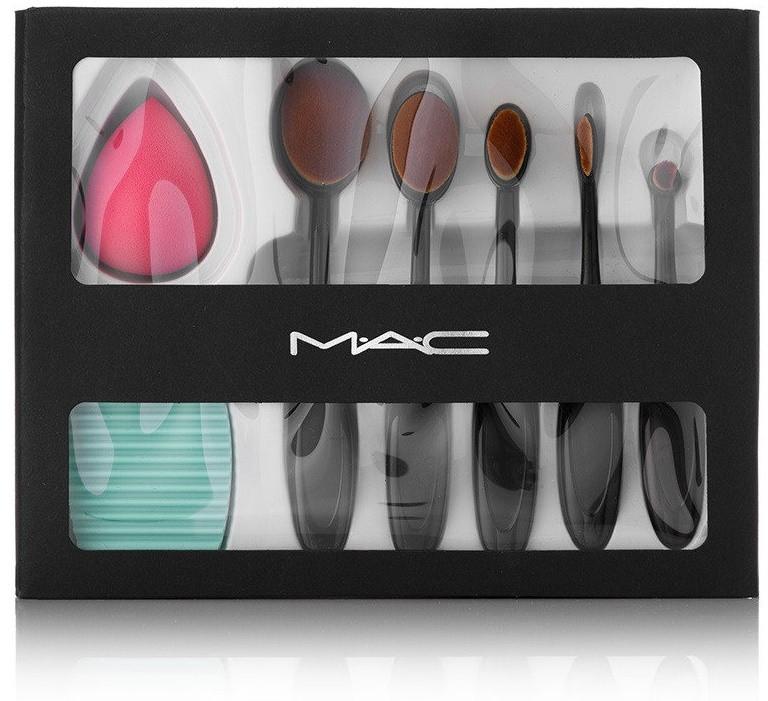Набор для макияжа MAC (5 кистей, спонж, щетка)