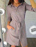 Женское платье-туника в полоску в расцветках, р-р 48-50. ВЕ-14-1-0519