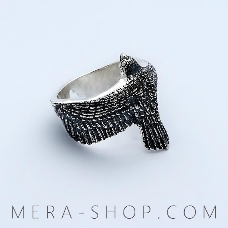 Сокол кольцо из серебра 925 пробы