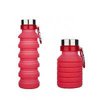 Складная силиконовая бутылка с карабином LUX Bottle (Red)