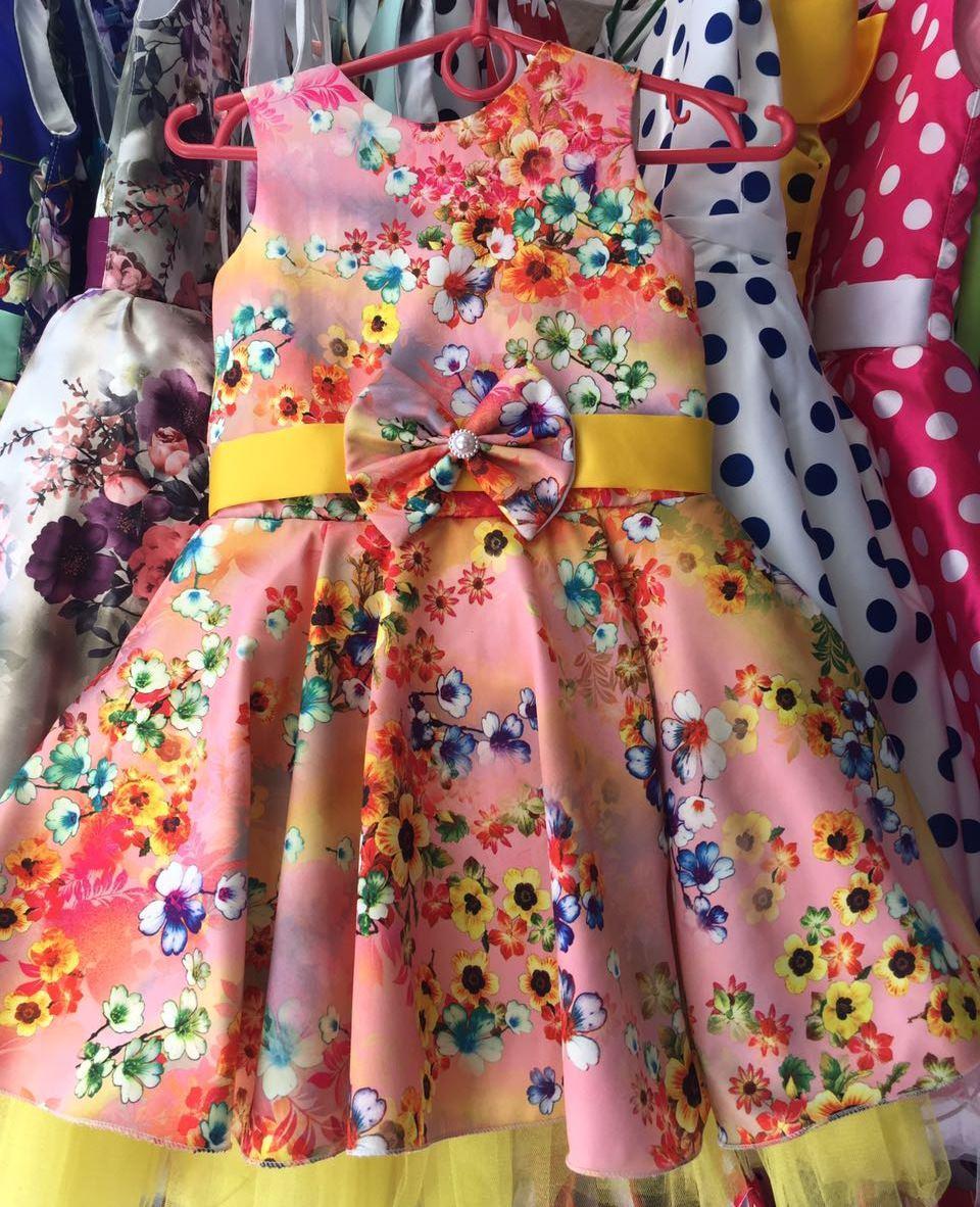 Нарядное платье персиковое в цветочек Ретро для девочки на 4-6 лет