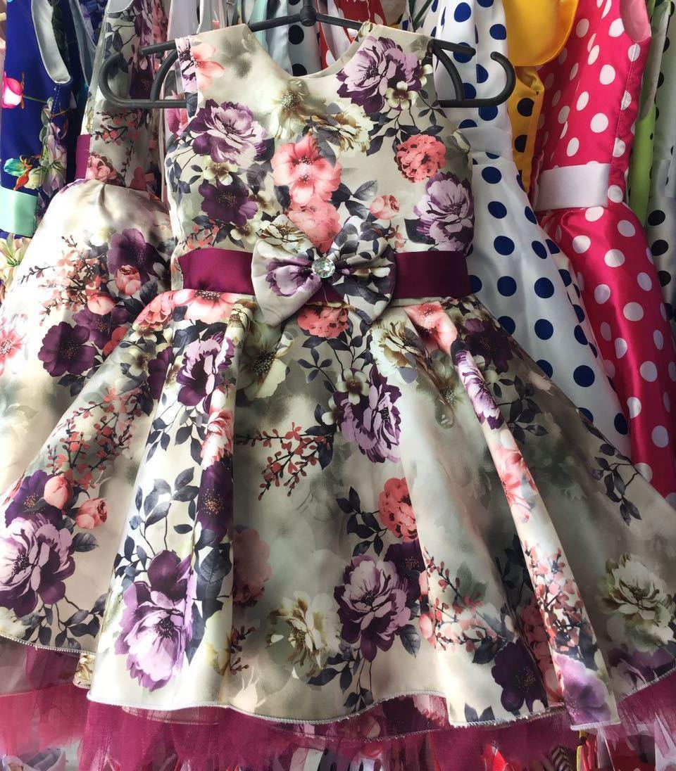 530164b7f27caa6 Нарядное Платье Фиолетовое в Цветочек Ретро для Девочки на 4-6 Лет ...