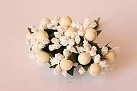 Добавка с матовым шариком + блеск 6 шт/уп. белого + молочного цвета, фото 1