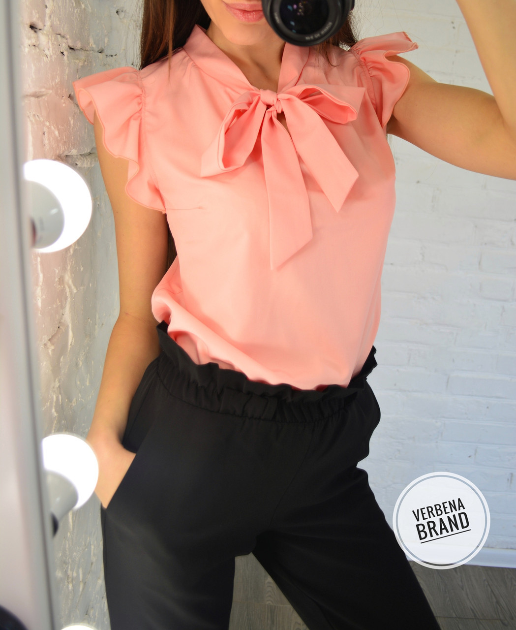 Женская блуза с воротником- бант в моделях, р-р 48-50. ВЕ-17-1-0519