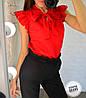 Женская блуза с воротником- бант в моделях, р-р 48-50. ВЕ-17-1-0519, фото 3