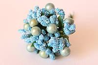 Добавка с перламутровым шариком + блеск 10-12 шт/уп. голубого цвета, фото 1