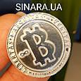 Серебряная монета Биткоин - Биткоин сувенир серебряный - Биткоин криптовалюта сувенирная монета даим. 26 мм, фото 3