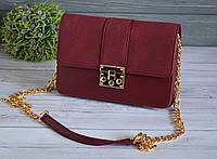 Красивая женская сумка с ручкой цепочкой бордовая, фото 1