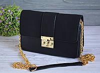 Красивая женская сумка с ручкой цепочкой черная, фото 1