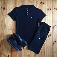 Футболка поло + Шорты + Барсетка! Спортивный костюм мужской летний в стиле Nike Black
