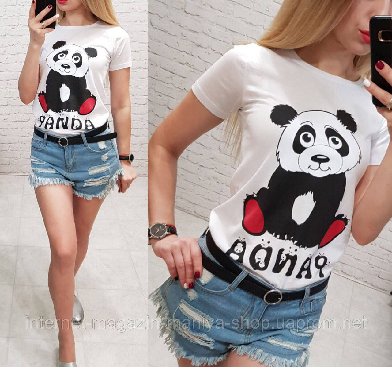 Футболка женская панда S-XL (лето)