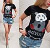 Футболка женская панда S-XL (лето), фото 2