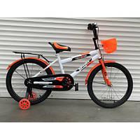Двухколесный детский велосипед 14 дюймов корзинка багажник и светятся колёса