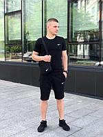 Футболка + Шорты + Барсетка! Спортивный костюм мужской летний в стиле Nike Black