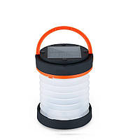 Складний ліхтар SUNROZ Solar Camping Lantern для подорожейна сонячній батареї Чорно-Оранжевий  (SUN4347)