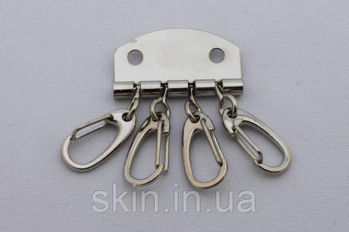 Ключница на 4 карабина, ширина 33 мм, цвет - никель, артикул СК 5399, фото 2