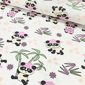 Хлопковая ткань (ТУРЦИЯ шир. 1.7 м) Панды в розовых шляпках на белом