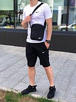 Футболка + Шорты + Барсетка! Спортивный костюм мужской летний в стиле Nike White-Black