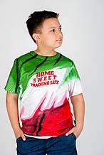 """Эксклюзивная футболка""""Rome sweet Training life"""" мал. зеленый,белый,красный 100%коттон 52979-AL"""