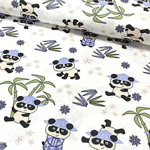 Хлопковая ткань (ТУРЦИЯ шир. 1.7 м) Панды в голубых шляпках на белом