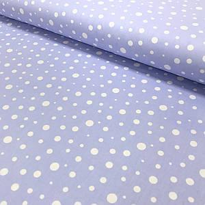 Хлопковая ткань (ТУРЦИЯ шир. 1.7 м) Кружочки белые разного размера на голубом