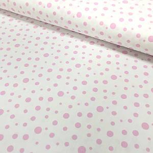 Хлопковая ткань (ТУРЦИЯ шир. 1.7 м) Кружочки розовые разного размера на белом