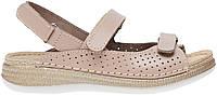 Женские кожаные сандали сандалии без каблука бежевые Inblu MK-2U
