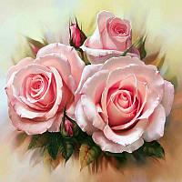 Алмазная вышивка 5D «Нежность роз» (50*40 см) полная выкладка, фото 1