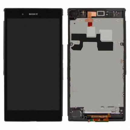 Дисплей (экран) для Sony C6802 XL39h Xperia Z Ultra с сенсором (тачскрином) и рамкой черный, фото 2