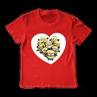 """Футболка для девочки """"Minions heart"""", фото 1"""