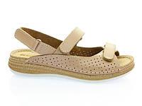 Женские кожаные сандалии без каблука бежевые Inblu MK-2U 071