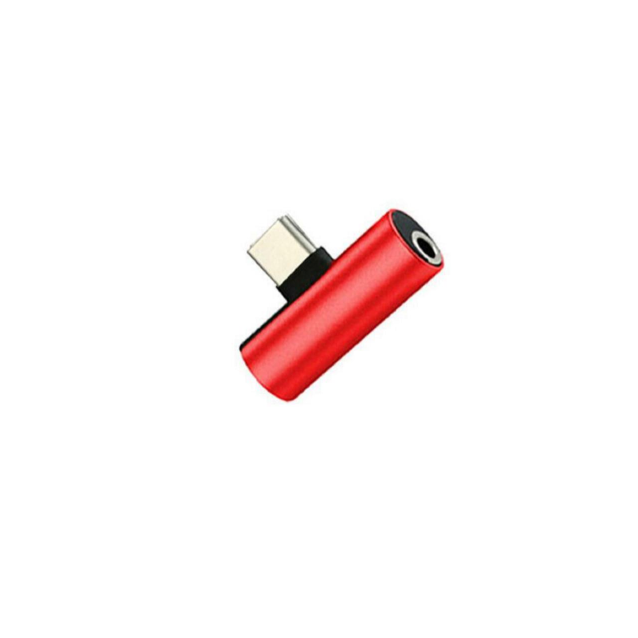 Переходник 2 в 1 USB-C Type C в 3.5mm Jack AUX Audio адаптер для зарядки и прослушивания музыки (красный)