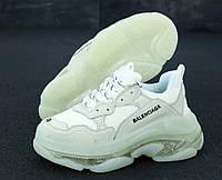 Женские кроссовки Balenciaga Triple S в стиле Баленсиага Трипл С, натуральная кожа код KD-11894. Серые