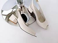 Босоножки женские натуральная кожа бежевые на устойчивом каблуке кожаные