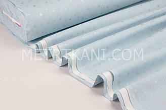 """Тканина ранфорс Туреччина 240 см """"Зорепад"""" (гліттер) срібло на блакитному № WH-1731-35"""