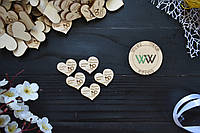 Свадебные фишки с датой свадьбы, именами, презент гостям, пригласительные, валюта для конкурсов, сердечки
