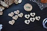 Магниты, свадебные фишки с датой свадьбы, именами, презент гостям, валюта для конкурсов, сердечки