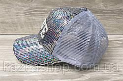Детская, подростковая кепка с паетками и надписью Love, сезон весна-лето, с регулятором, размер 52-54, фото 2