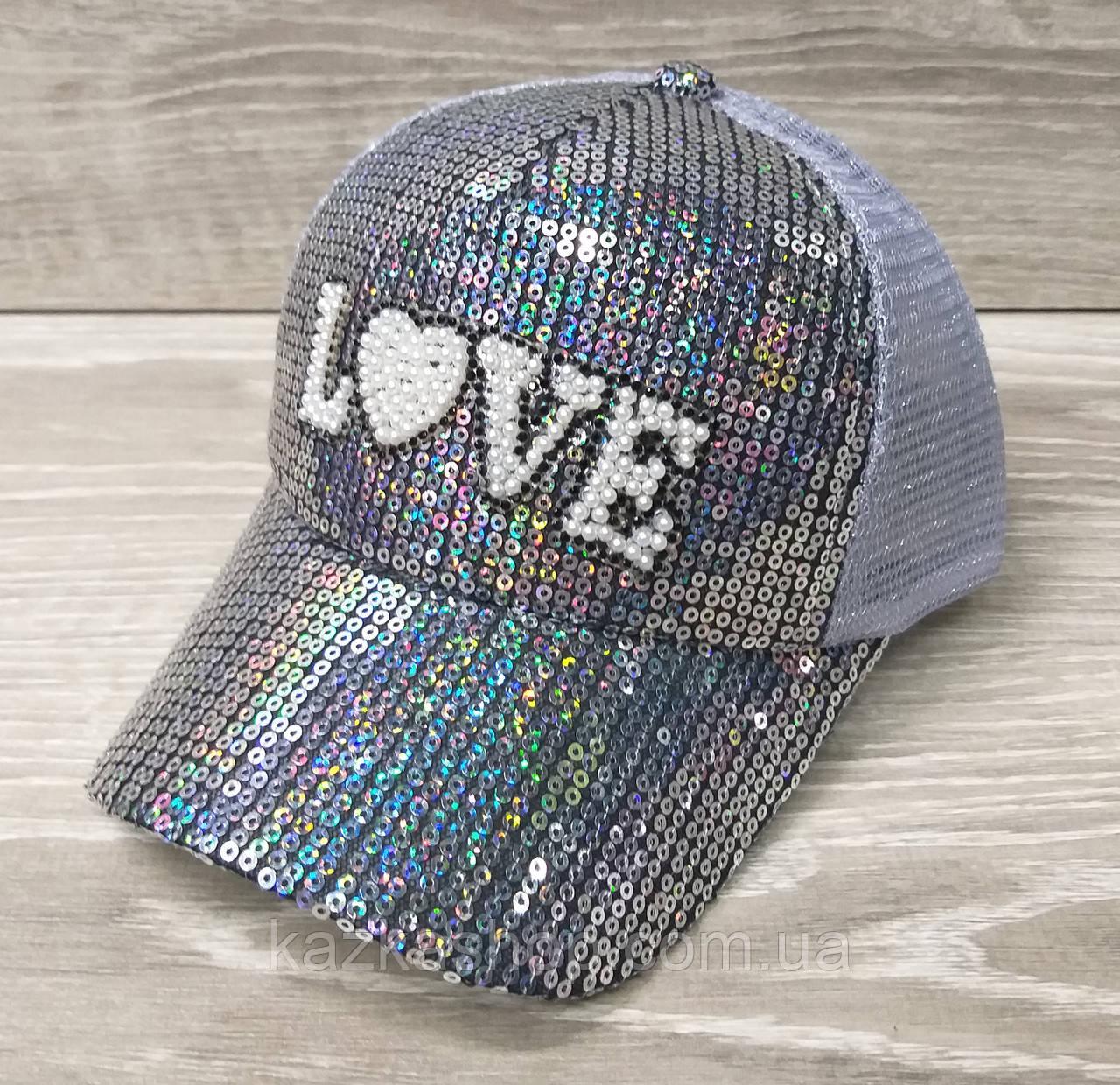 Детская, подростковая кепка с паетками и надписью Love, сезон весна-лето, с регулятором, размер 52-54