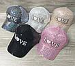 Детская, подростковая кепка с паетками и надписью Love, сезон весна-лето, с регулятором, размер 52-54, фото 3